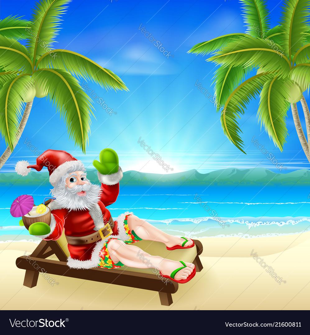 Summer Christmas Santa Beach Scene Royalty Free Vector Image