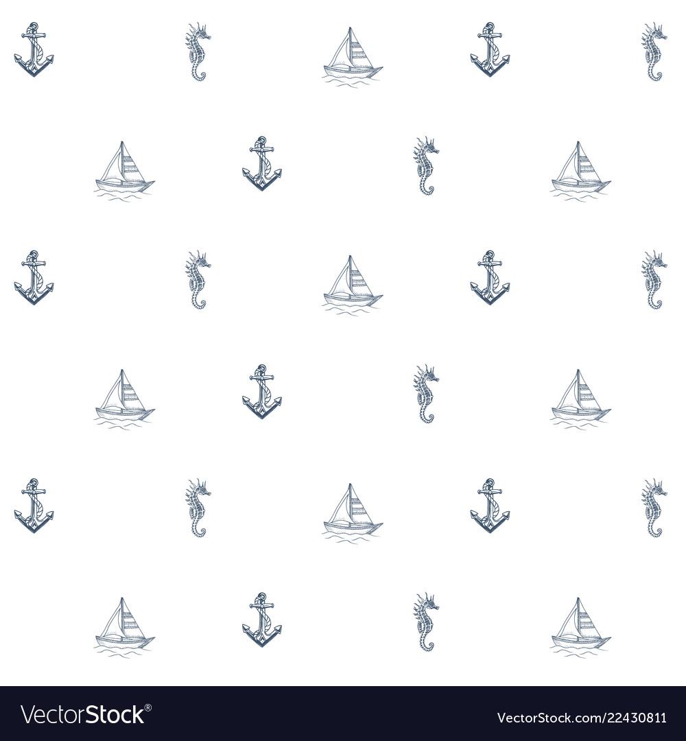 Summer sea pattern anchor boat