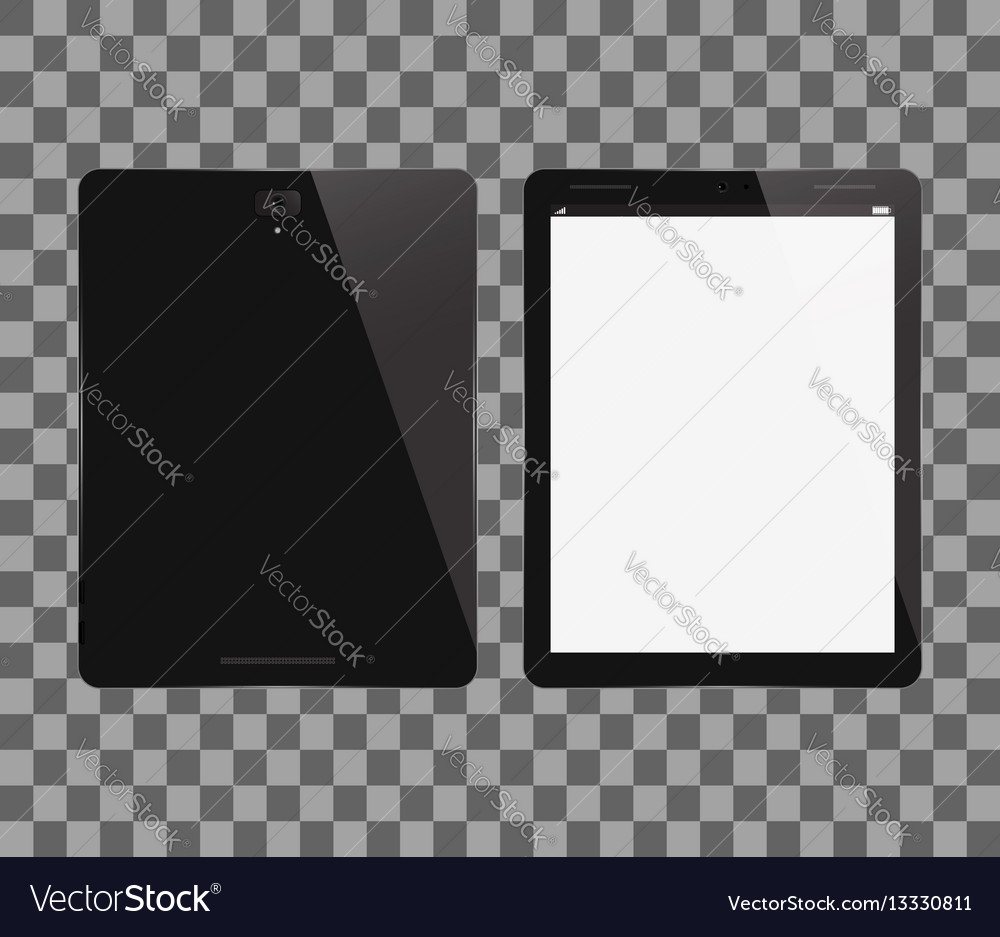 Tablet pc front and back view vector image