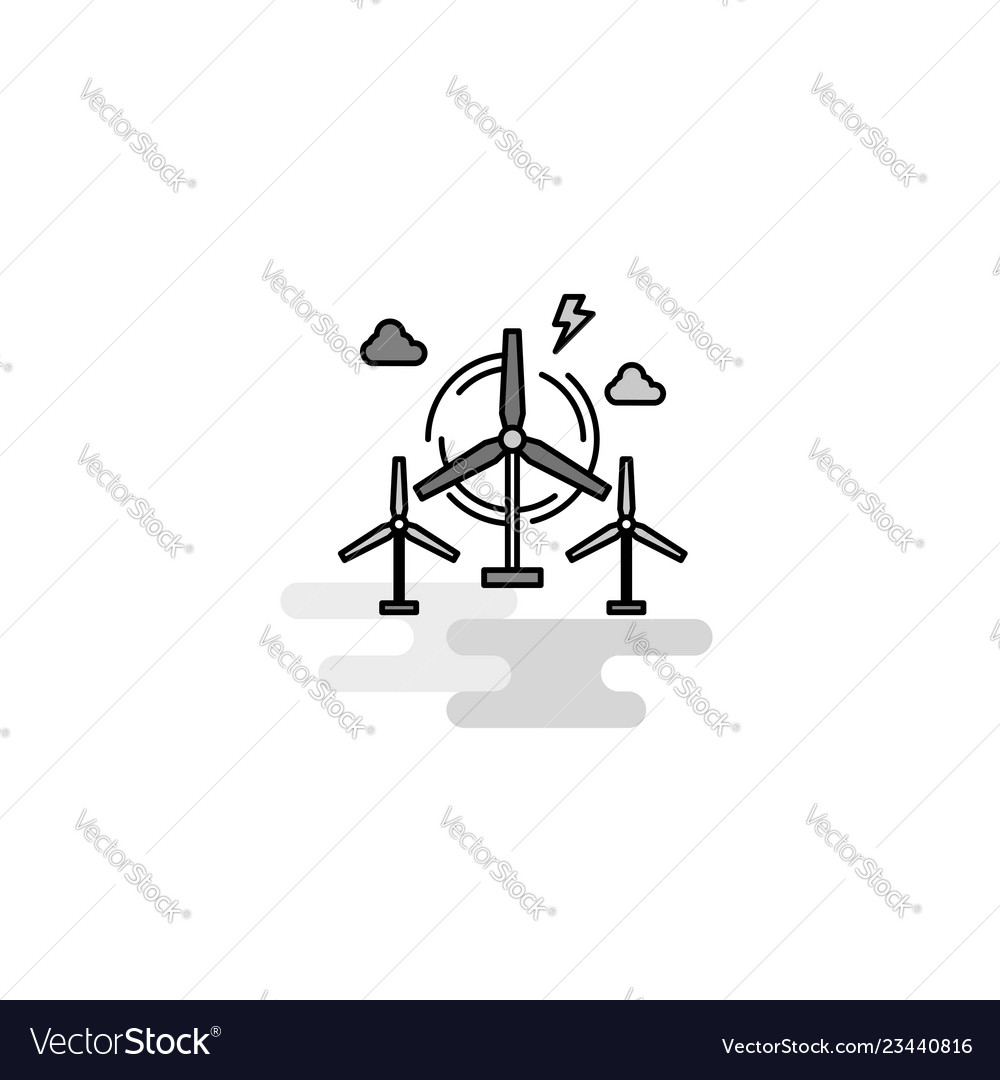 Air turbine web icon flat line filled gray icon