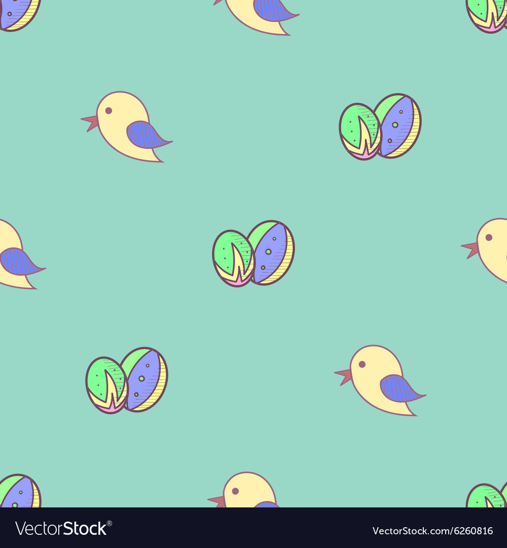 Bird Easter eggs seamless background