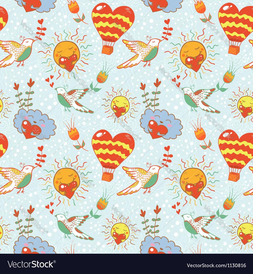 Bright cartoon romantic seamless pattern