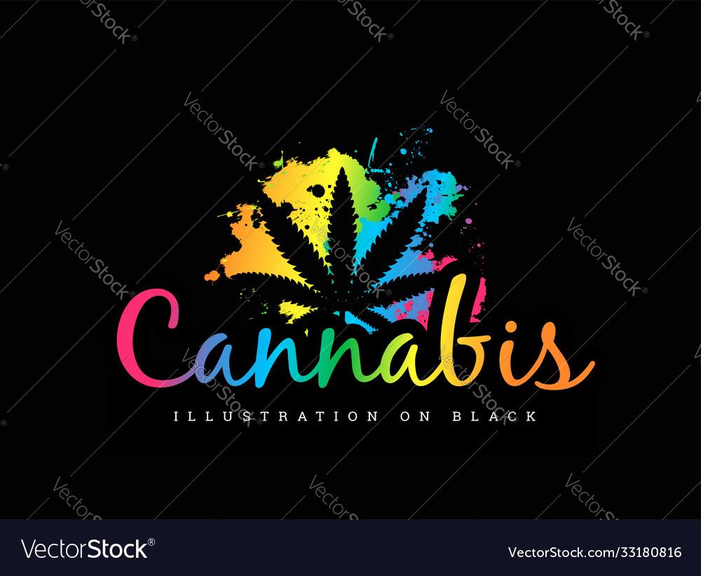 Cannabis leaf on multicolored gradient
