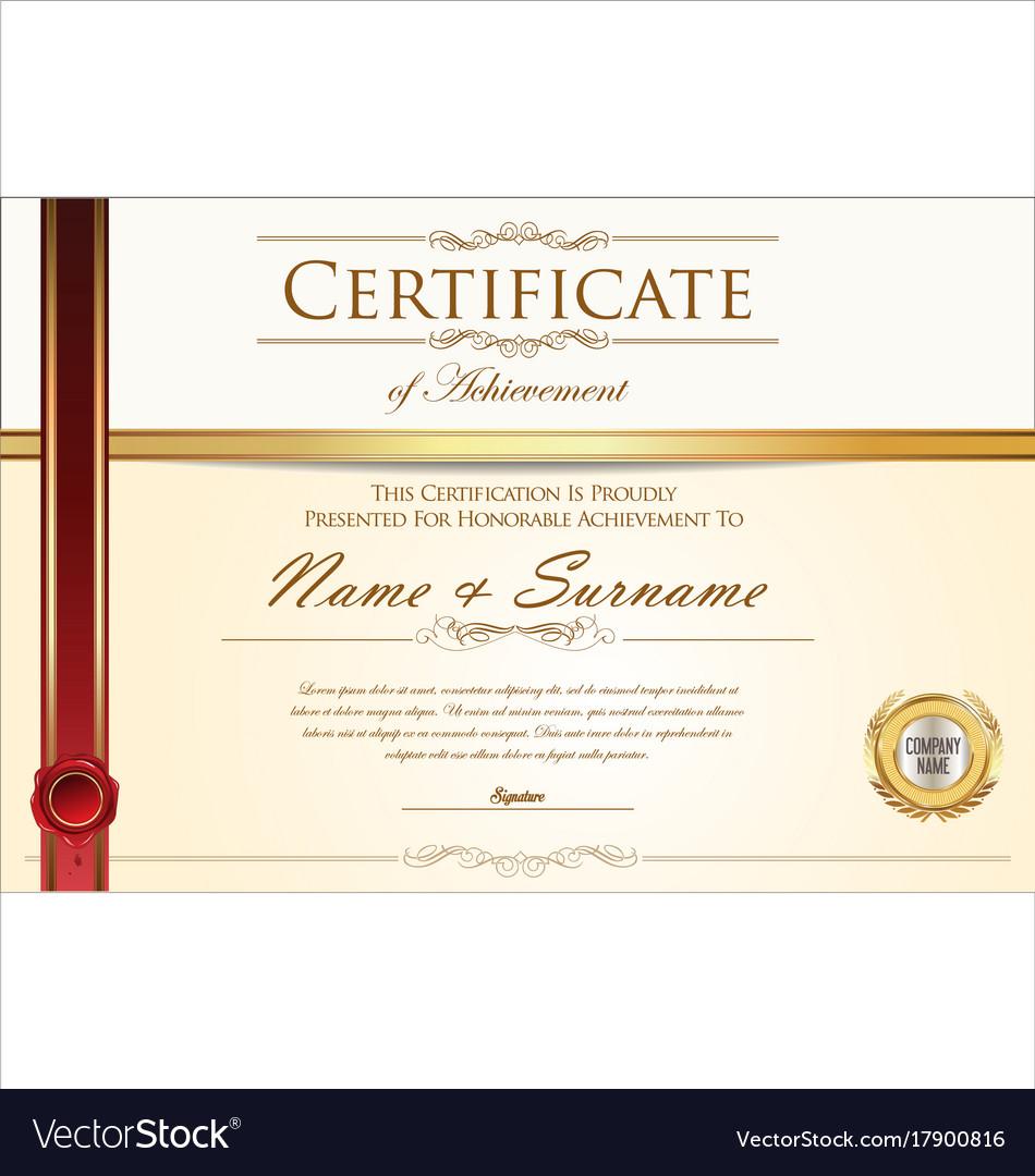 Certificate or diploma retro design template 4 Vector Image