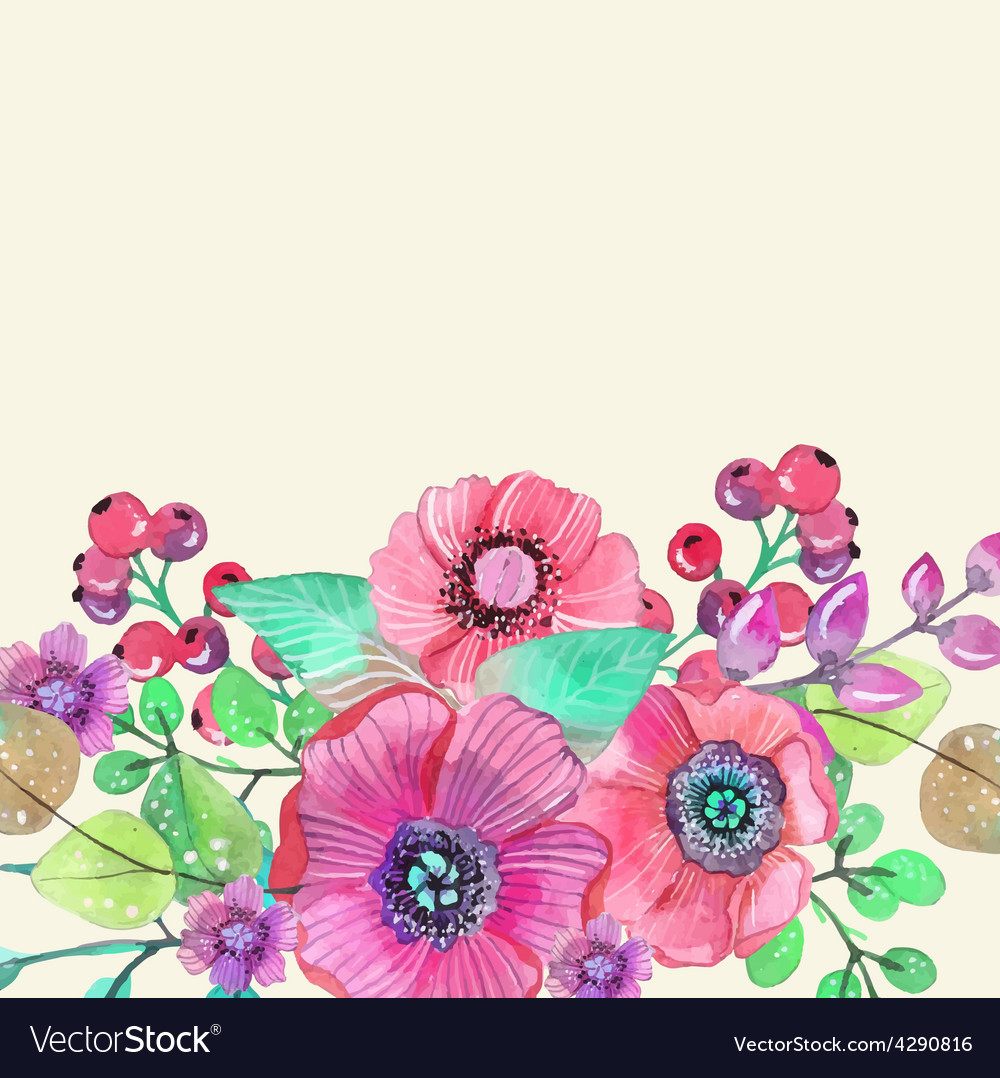 Colorful floral card with leaves and flowers