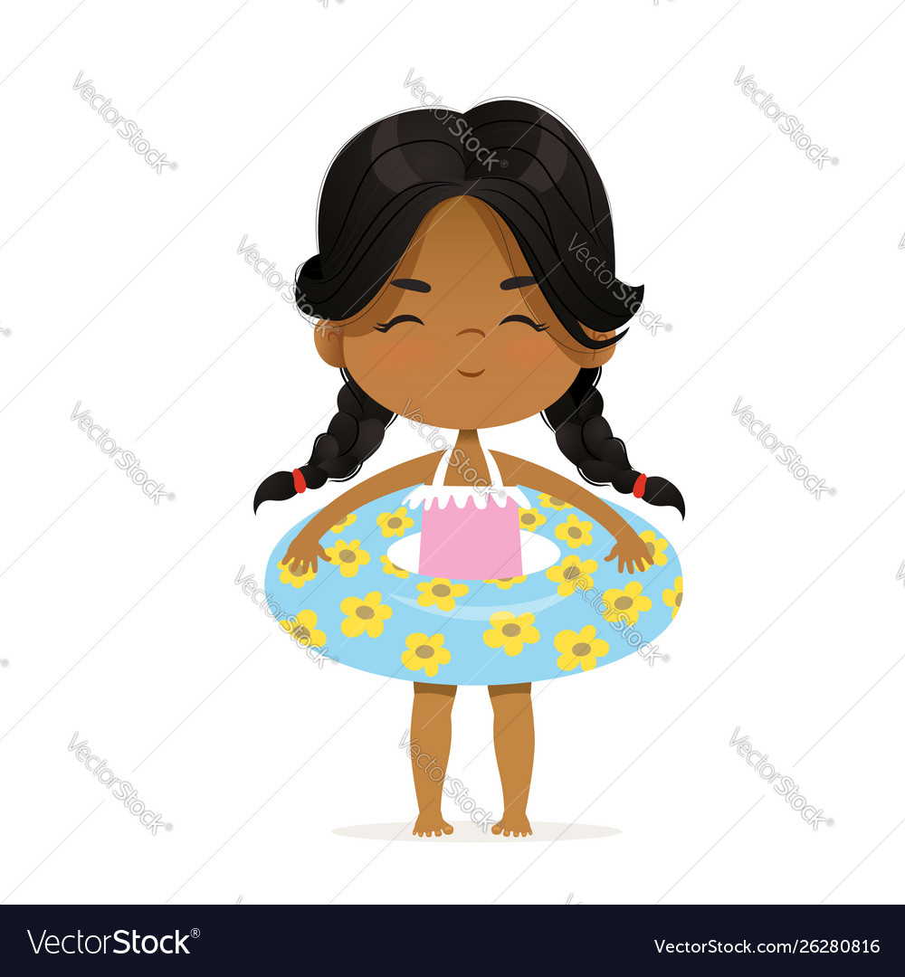 Cute african-american girl stay in inflatable