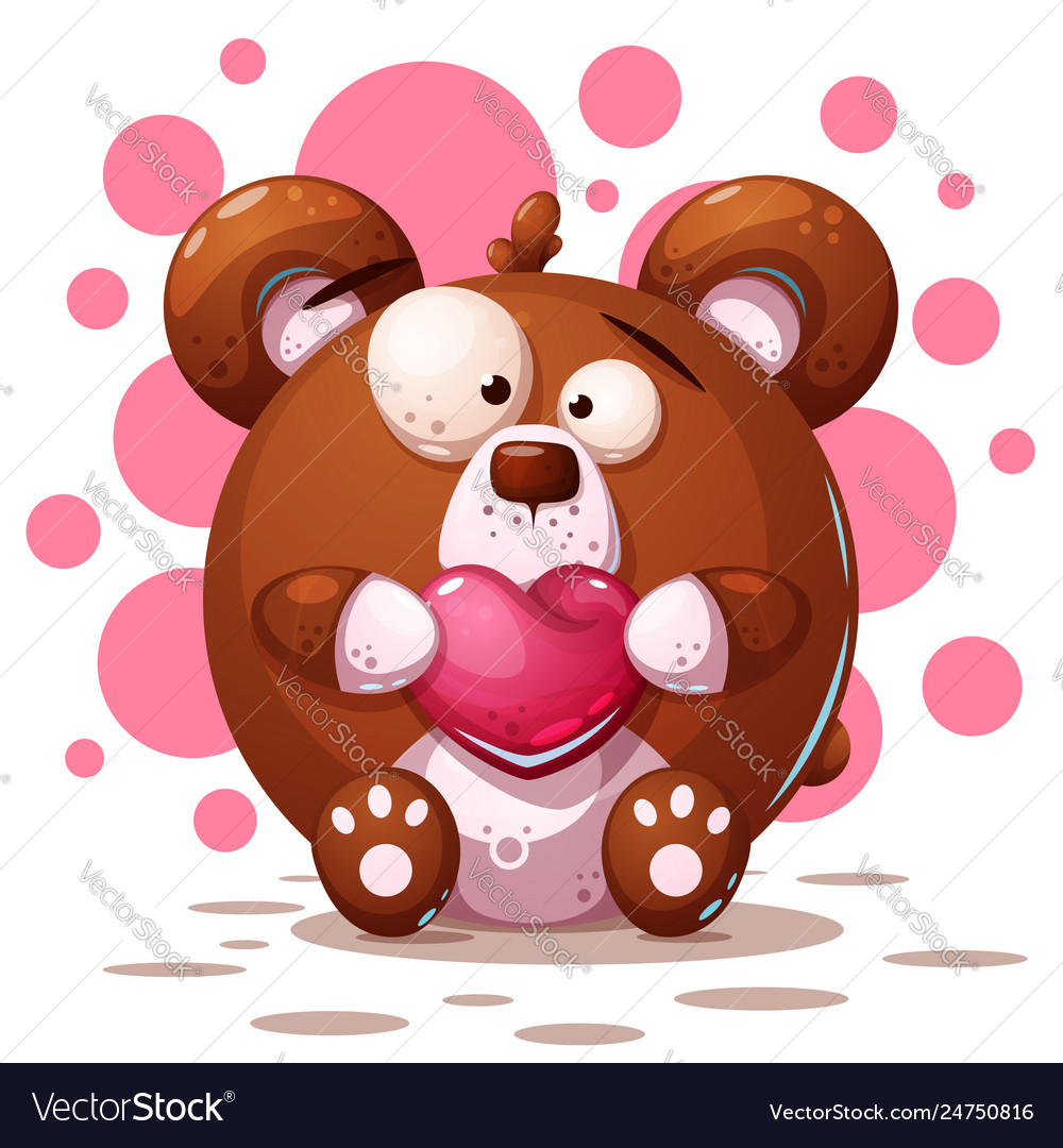 Cute crazy bear - cartoon