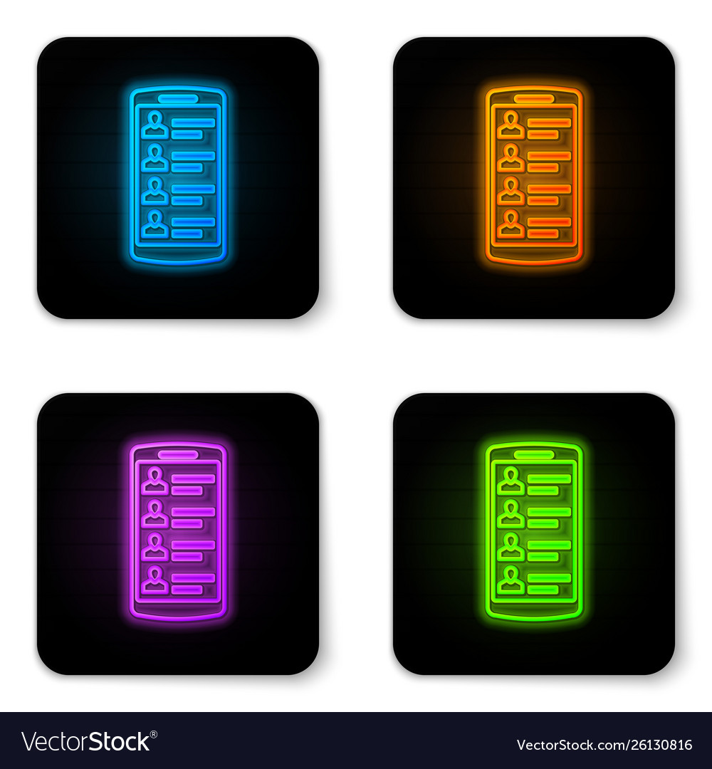 Glowing neon smartphone with contacts on screen