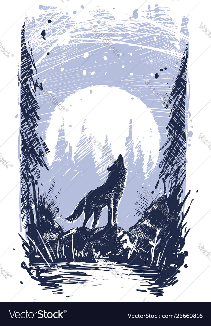 Graphic howling wolf standing on stone in forest