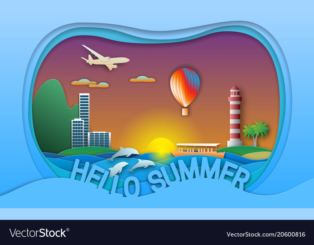 Hello summer in paper cut style