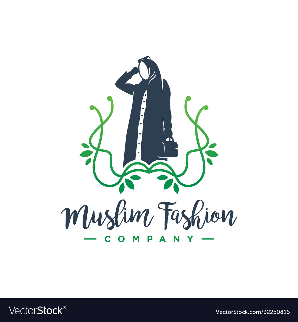 Hijab Fashion Logo Design Royalty Free Vector Image