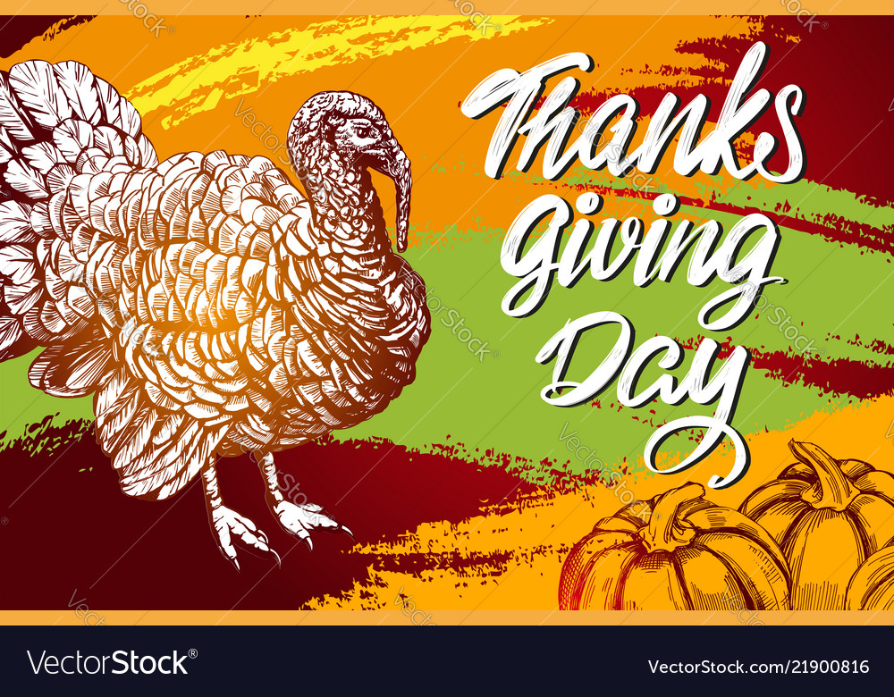 Thanksgiving day holiday poster turkey domestic