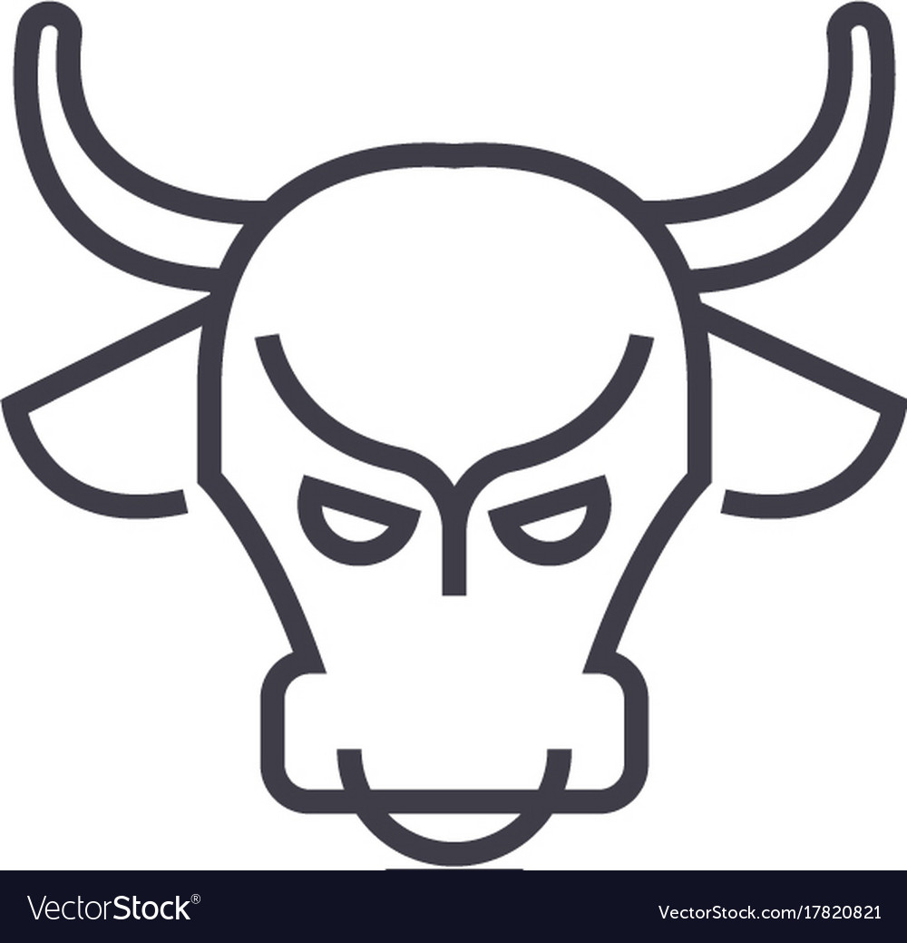 Bull marketstock marketbullish line icon vector image