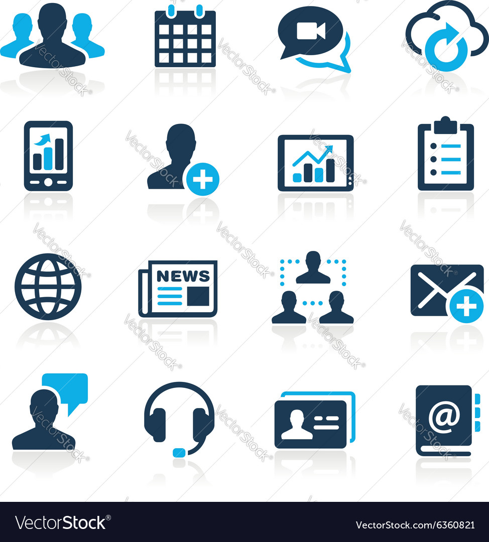Business technology icons azure series vector image
