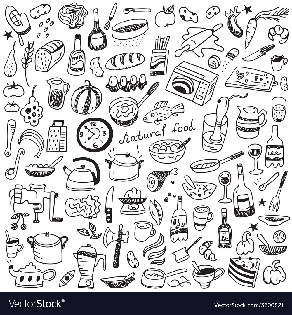 Cookery Natural Food Doodles Collection Vector Image