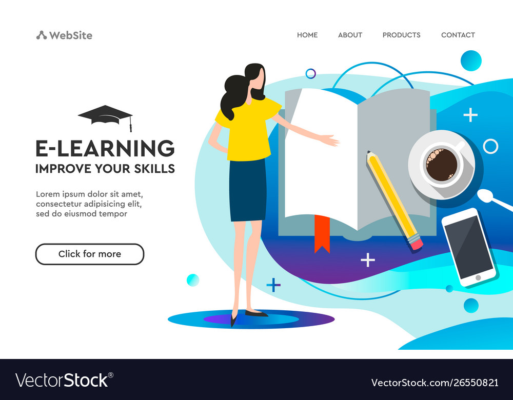 Landing page template for online education and