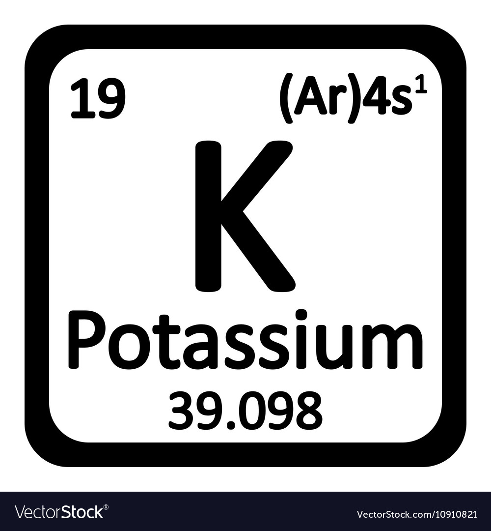 Periodic Table Element Potassium Icon Royalty Free Vector