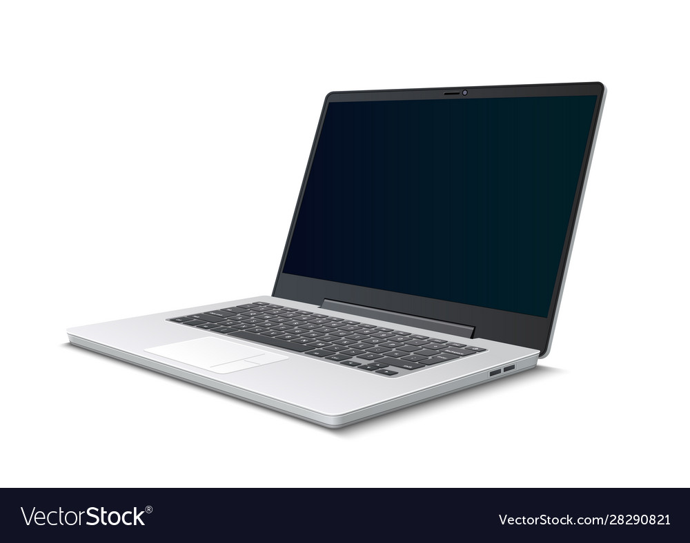 Realistic silver laptop 3d icon isolated