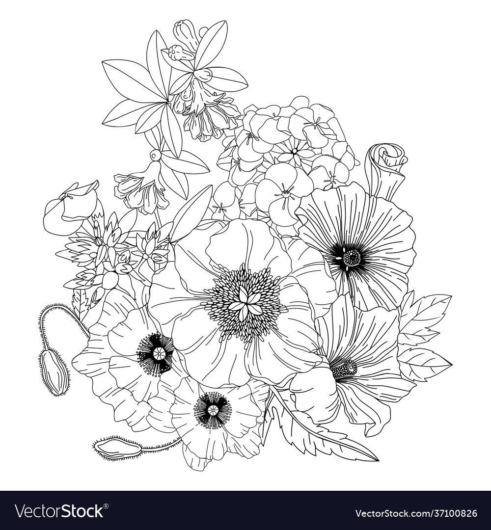 Arrangement with spring flowers floral outlines
