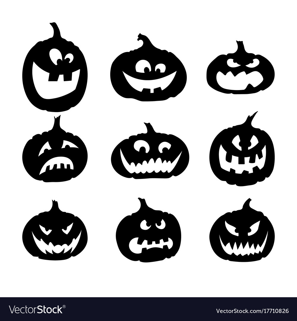 Black silhouettes of pumpkins icons for halloween