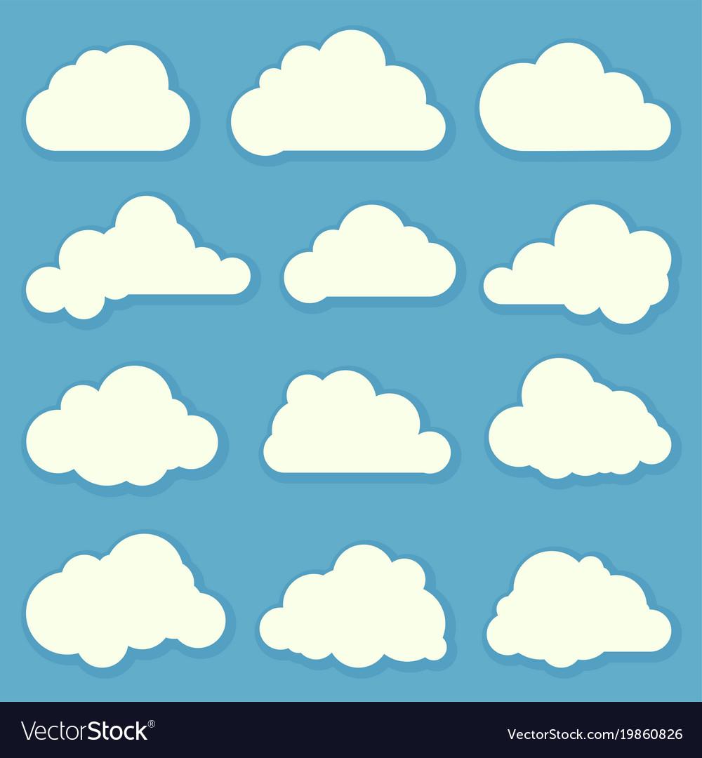 Clouds flat design elements set