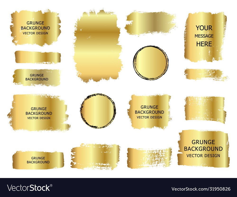 Collection gold paint ink brush stroke