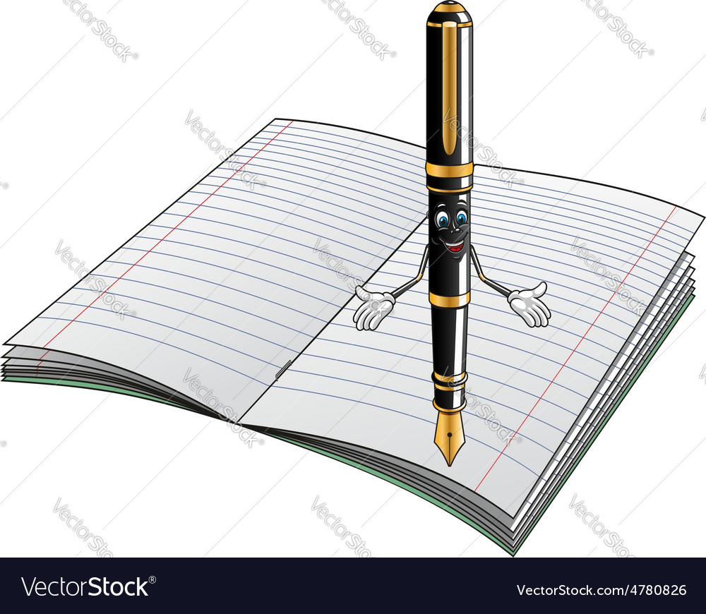 Fountain Pen Cartoon Character With Notebook Vector Image Ballpoint Diagram And Notepad Royalty Free Stock Photos