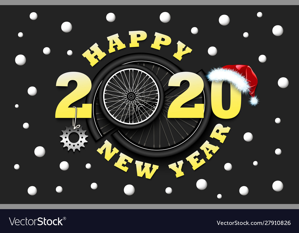 Happy new year 2020 and bicycle wheel