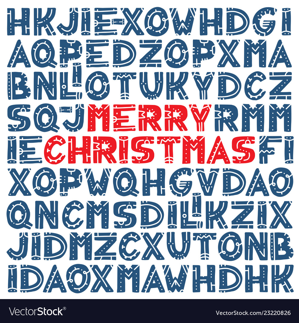 Merry christmas pattern with set of different