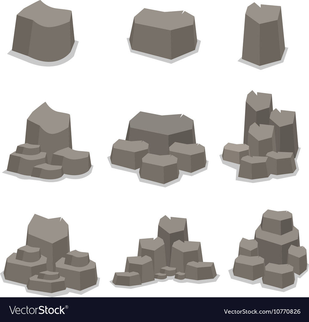 Object rock set of art vector image