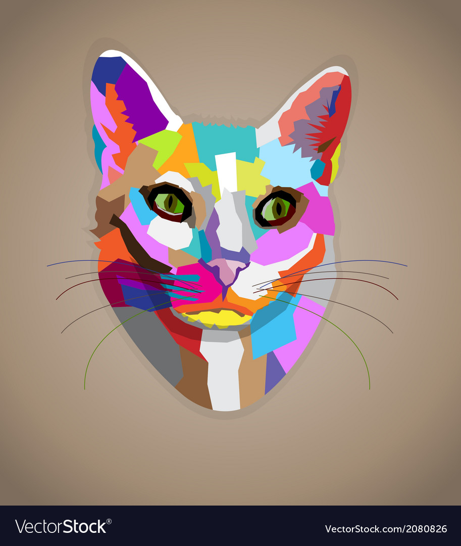 pop art colorful cat royalty free vector image
