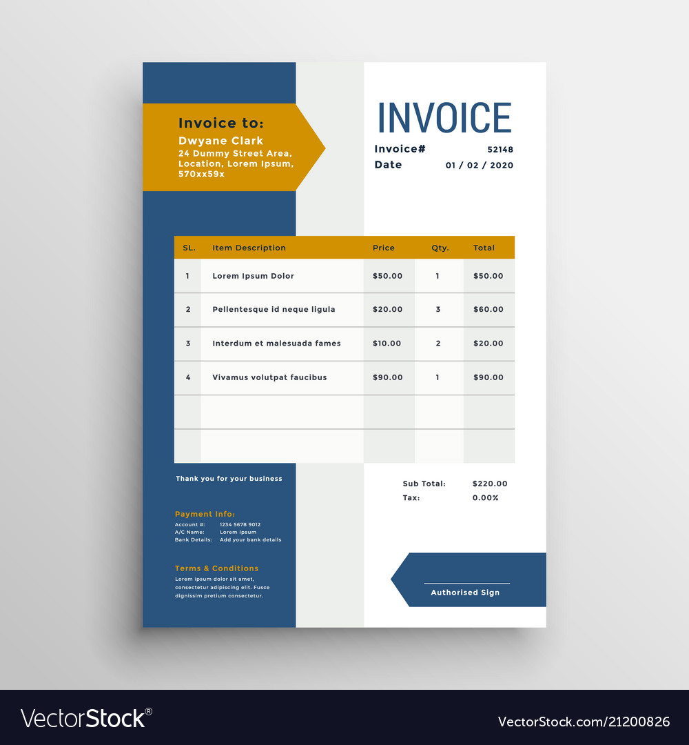 Professional Business Invoice Template Design Vector Image