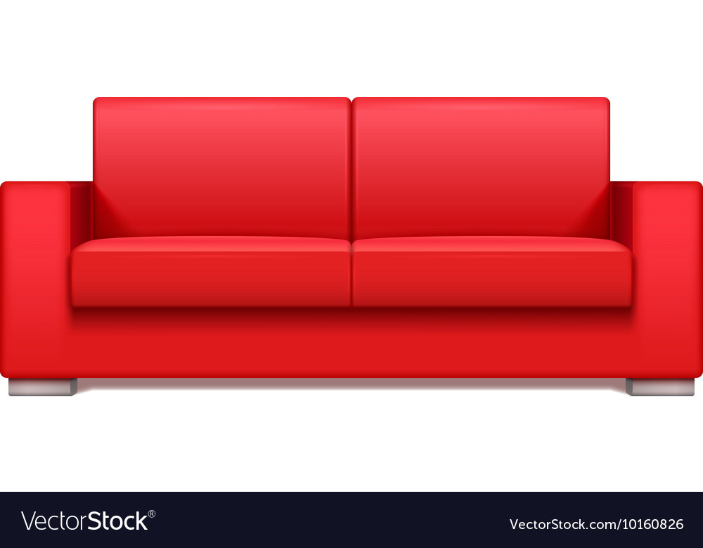 Red leather realistic sofa for modern living room