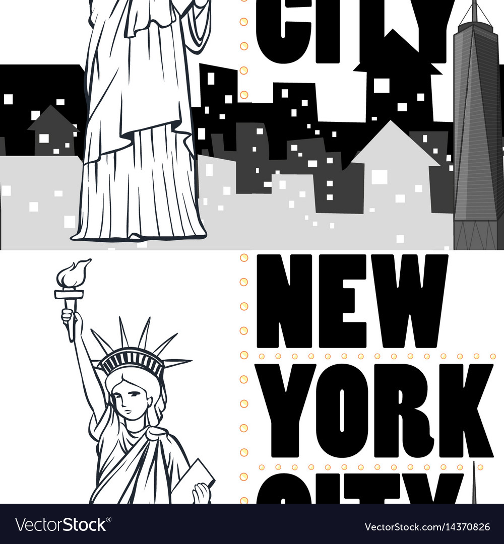 Seamless background with buildings and statue of vector image