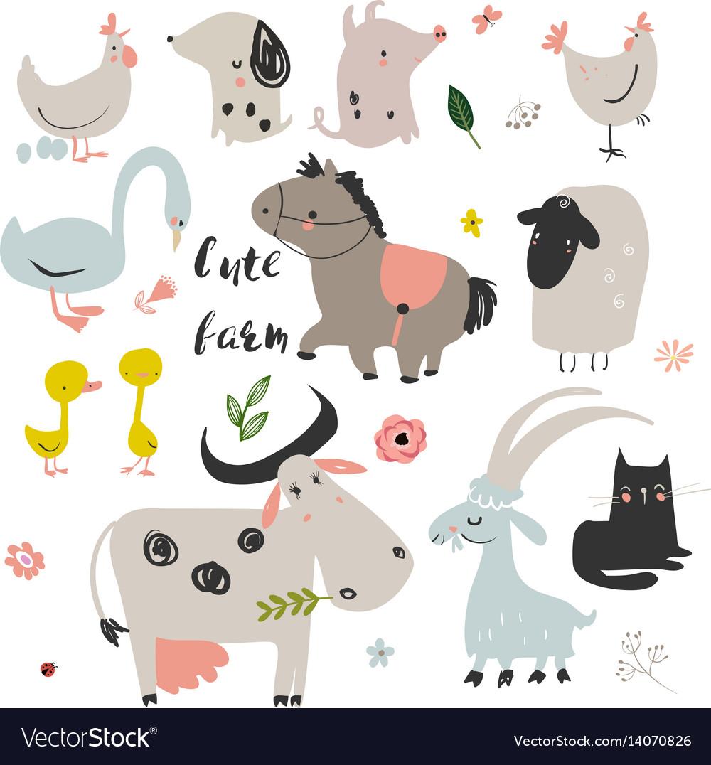 Set cute farm animals