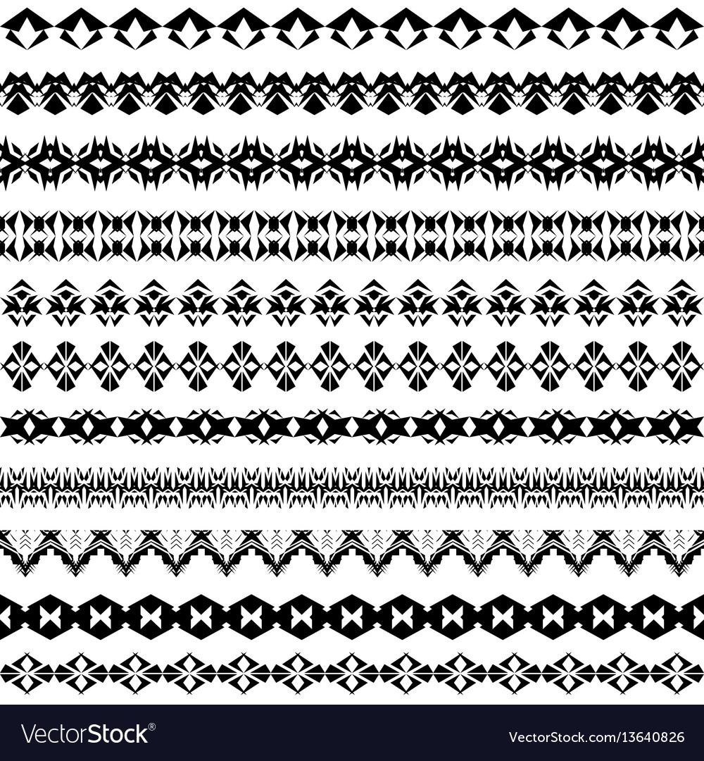 Set of geometric black borders in ethnic style vector image