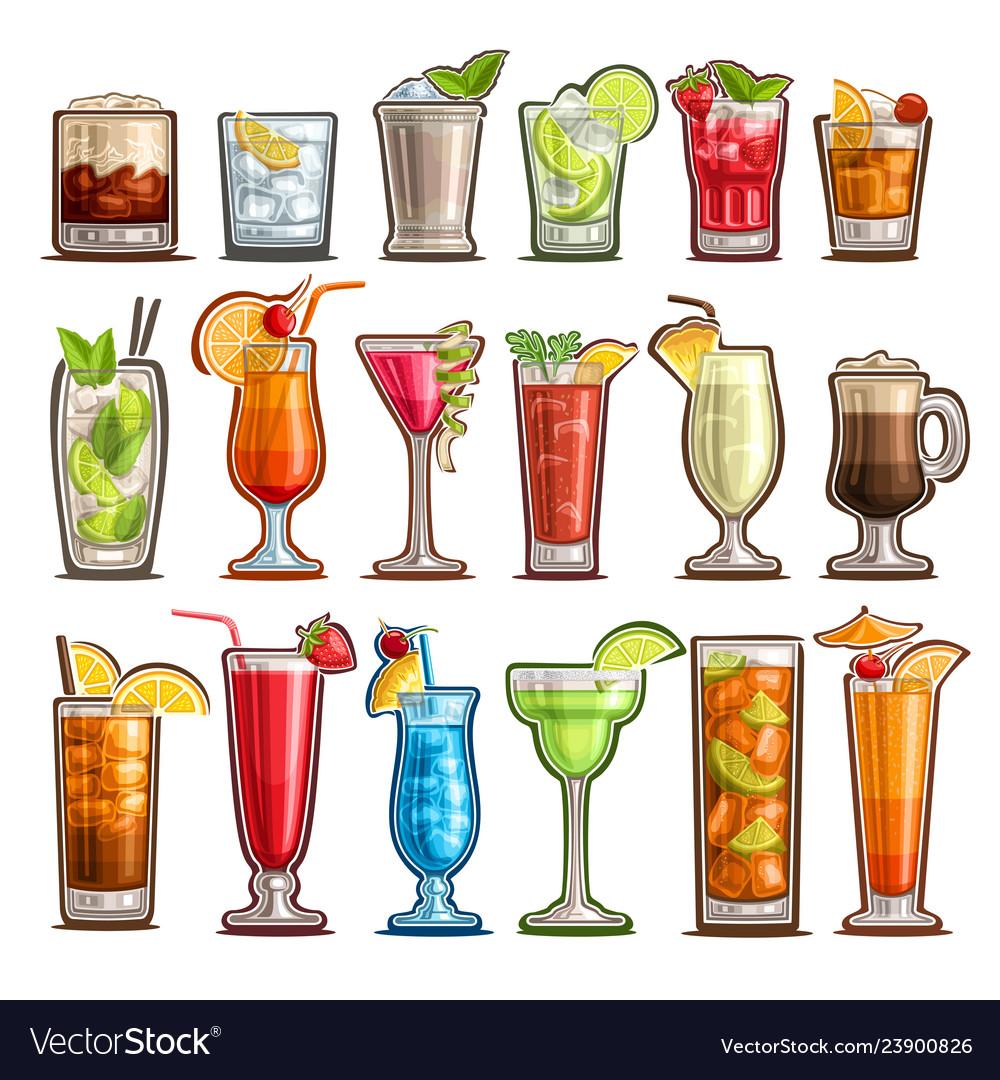 Set tropical cocktails