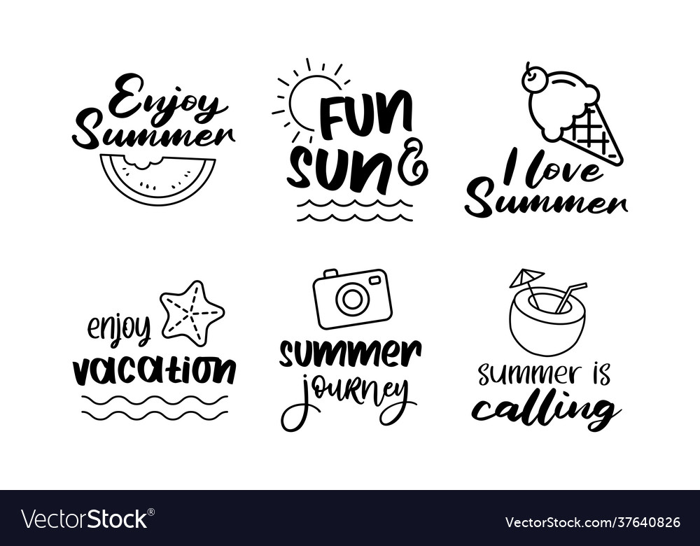 Summer labels set retro hand drawn elements for