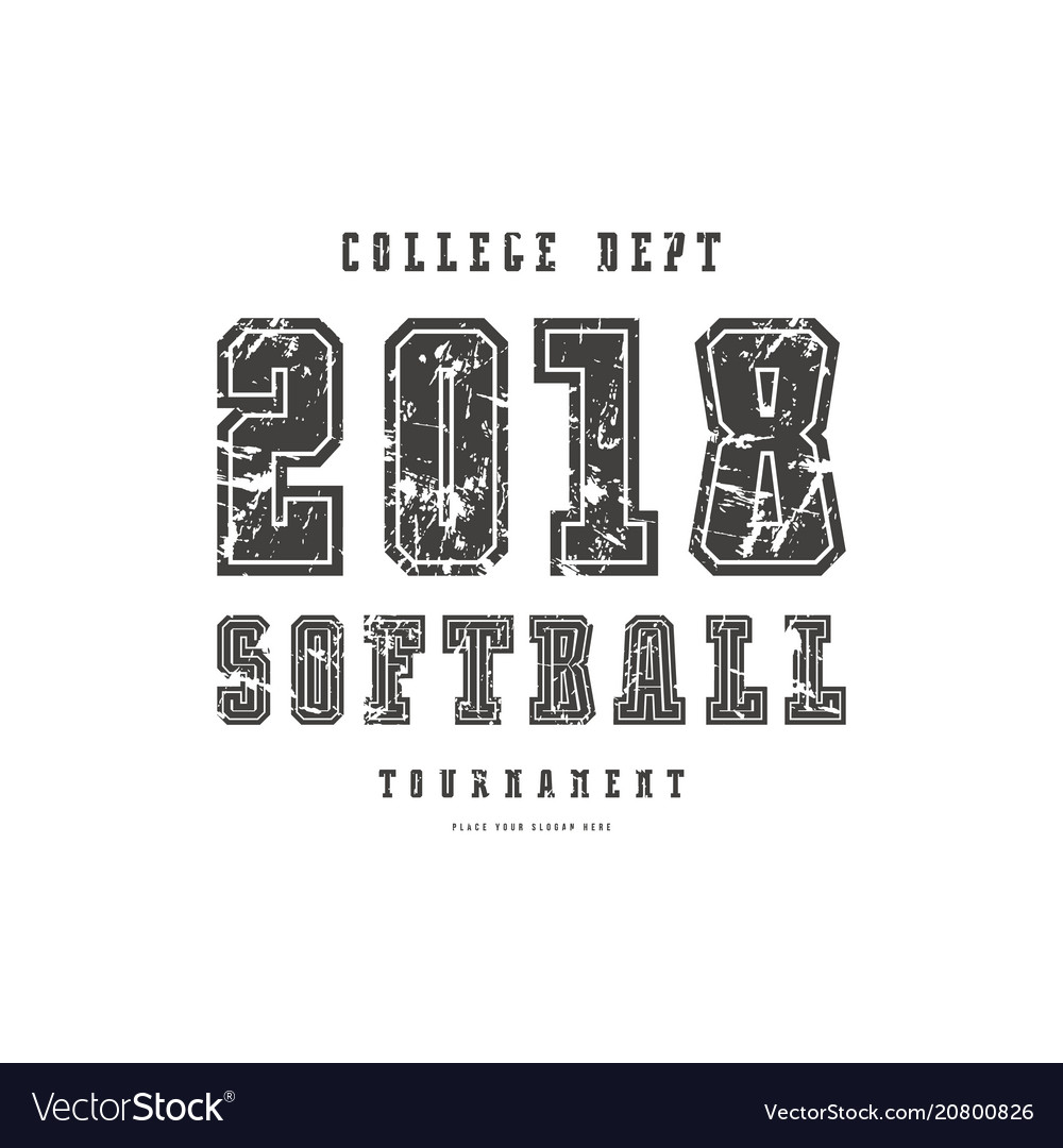 Typographic emblem of softball team
