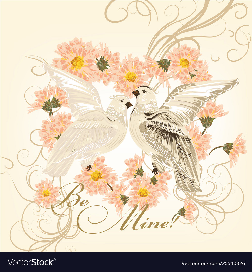 Valentine greeting card with cute couple doves