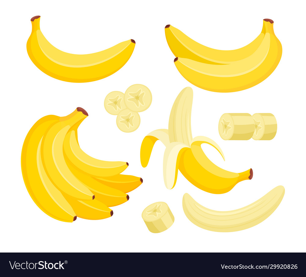 Yellow banana colorful flat