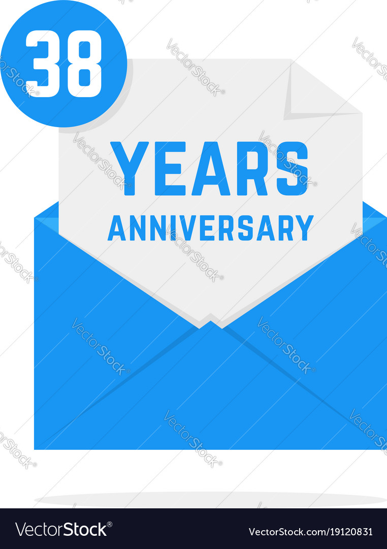 38 years anniversary icon in blue open letter