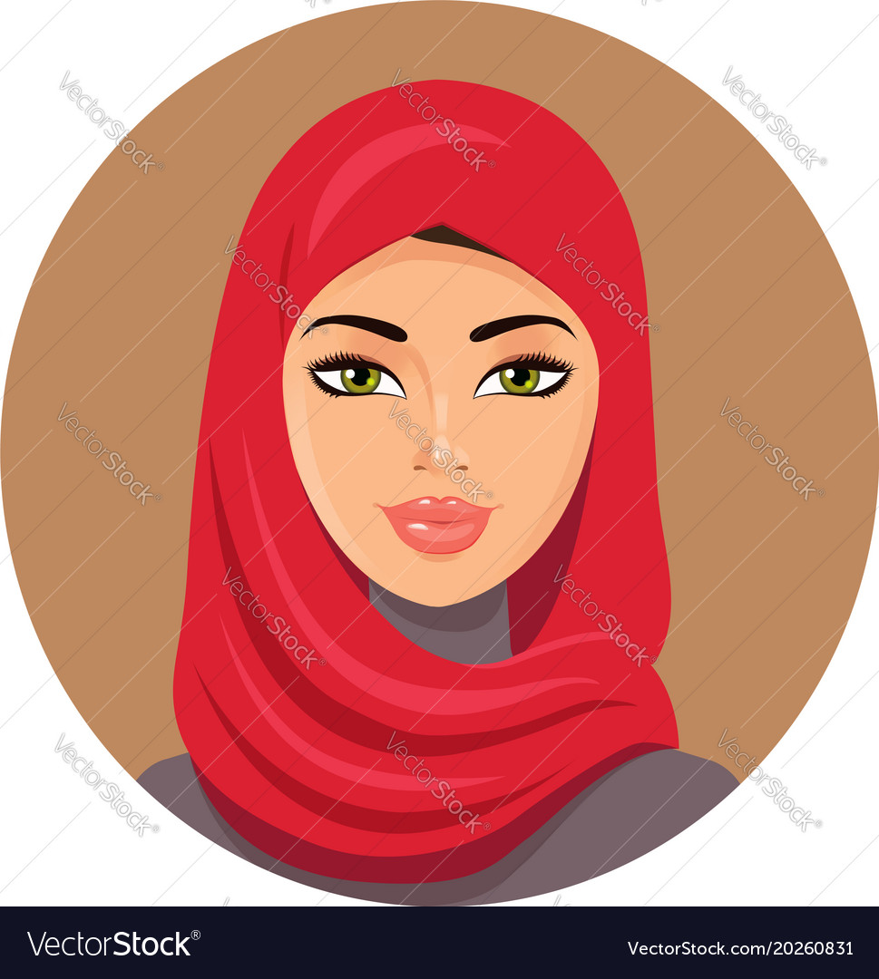Arab muslim woman in red hijab vector image