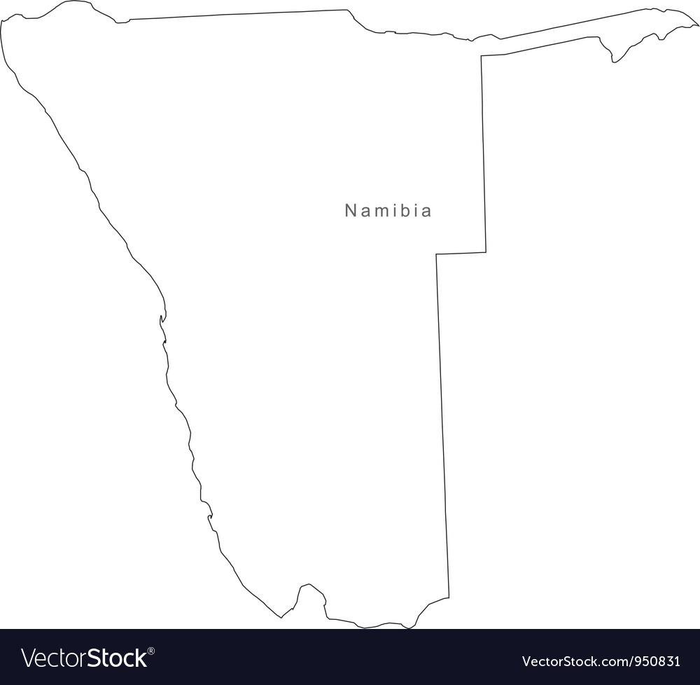 Black White Namibia Outline Map vector image
