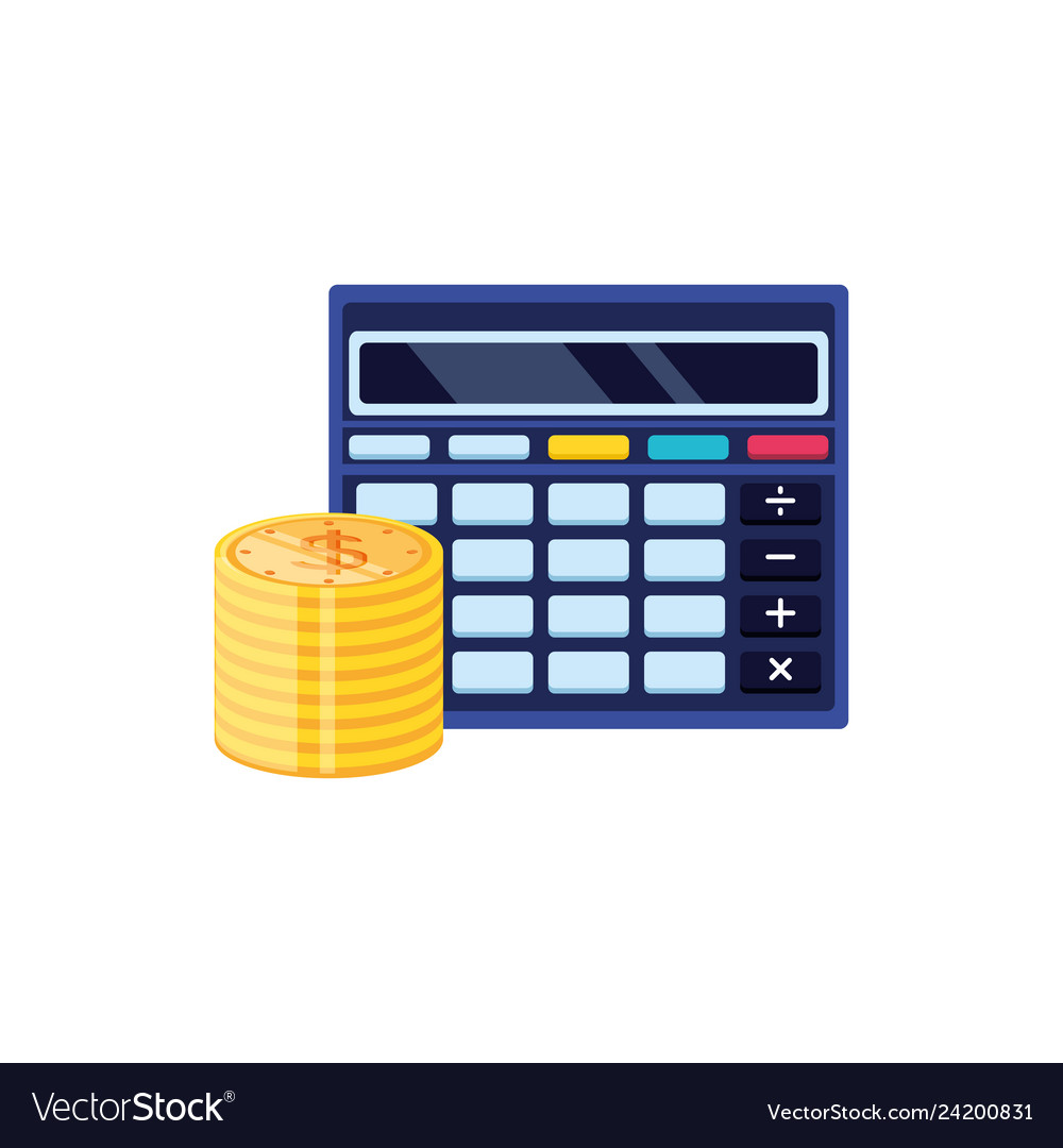 Calculator math finance with pile coins
