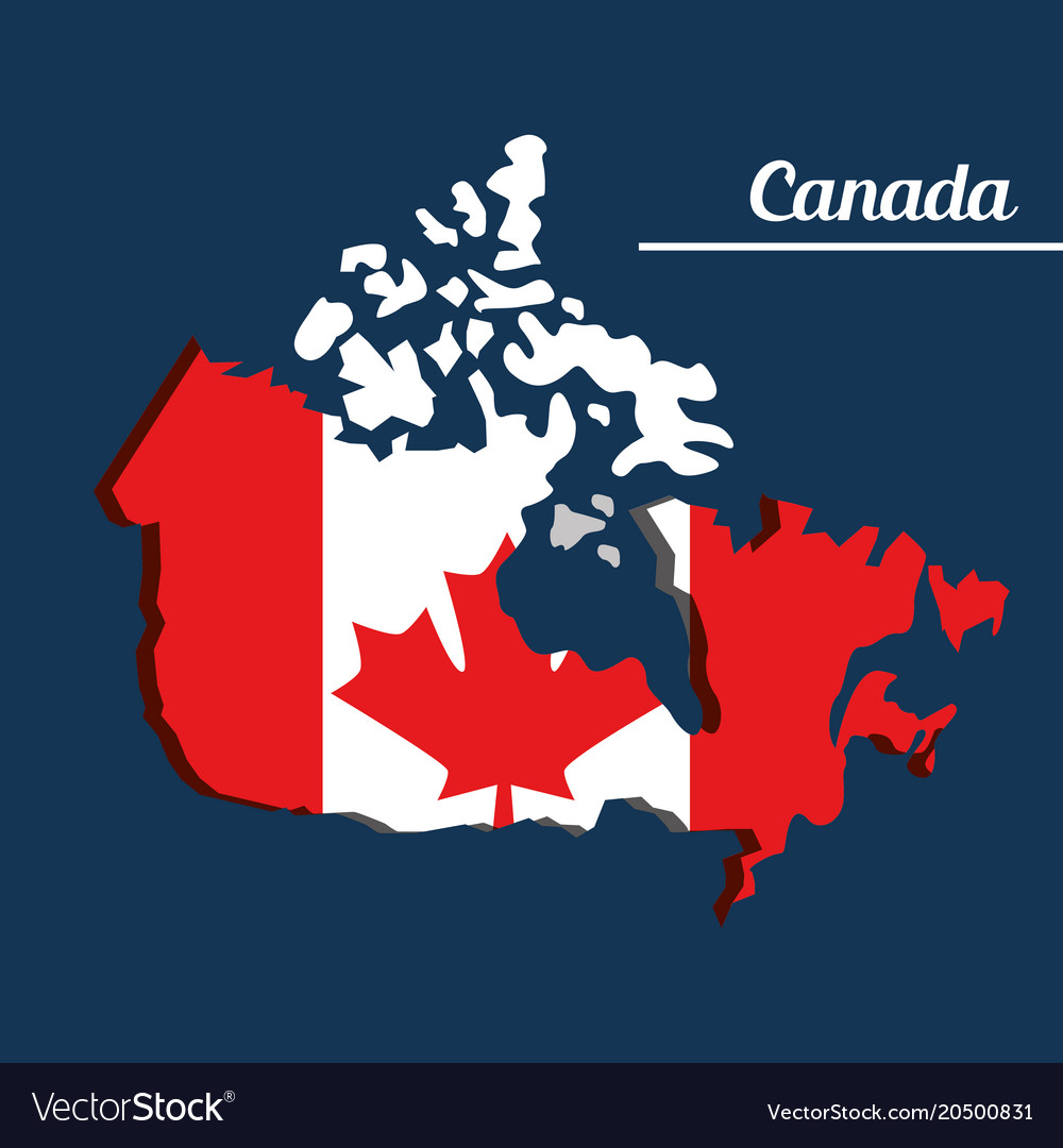 Canada Map Flag.Canada Flag Map Monument Royalty Free Vector Image