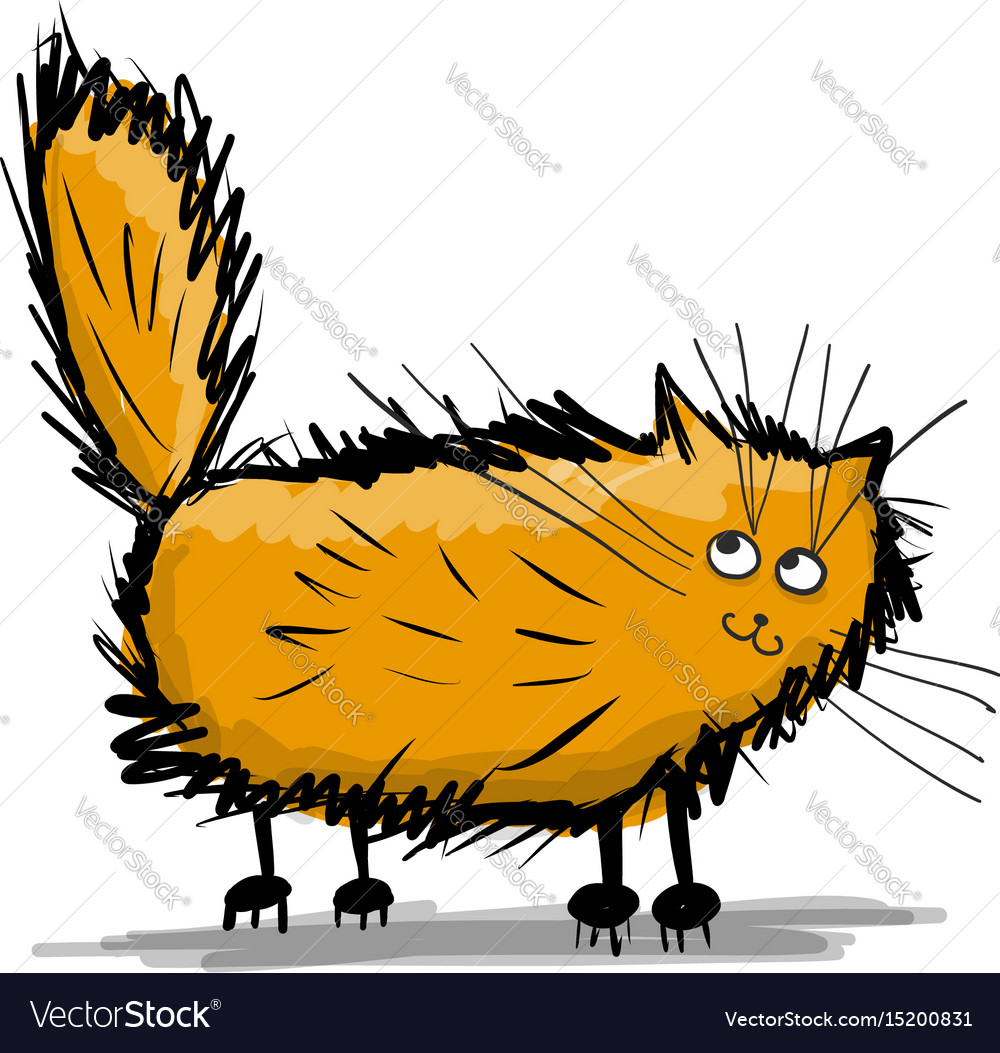 Cute fluffy cat sketch for your design vector image