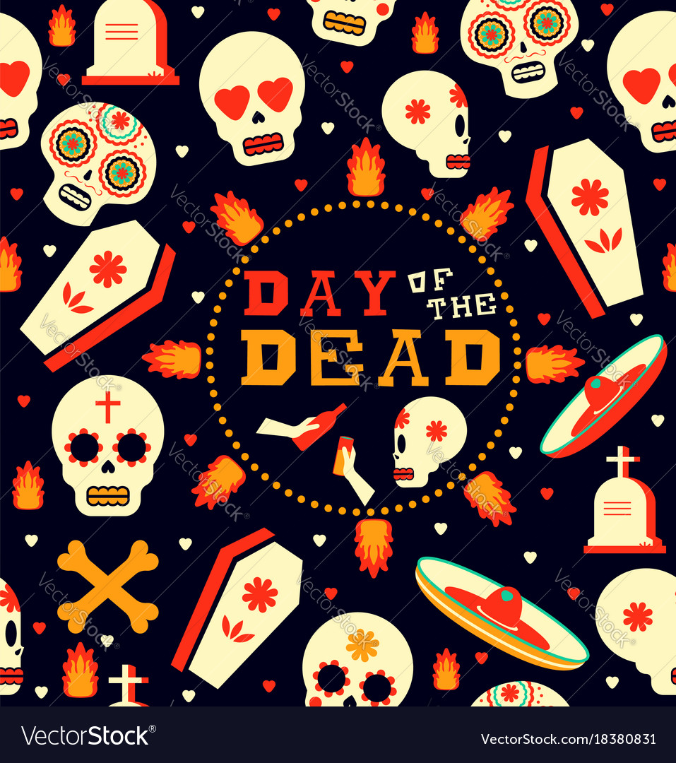 Day Of The Dead Emoji Skull Seamless Pattern Art Vector Image