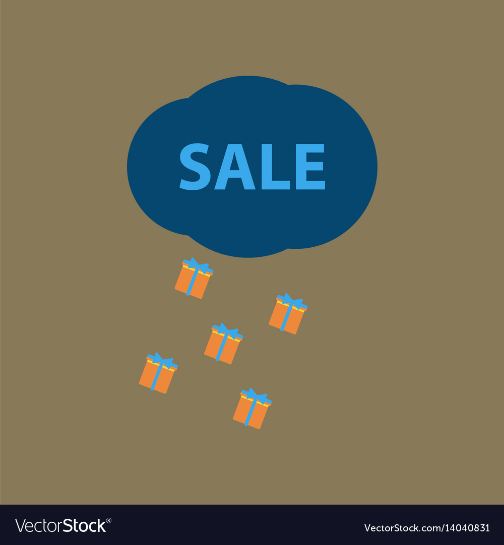 Flat icon of sale gift rain