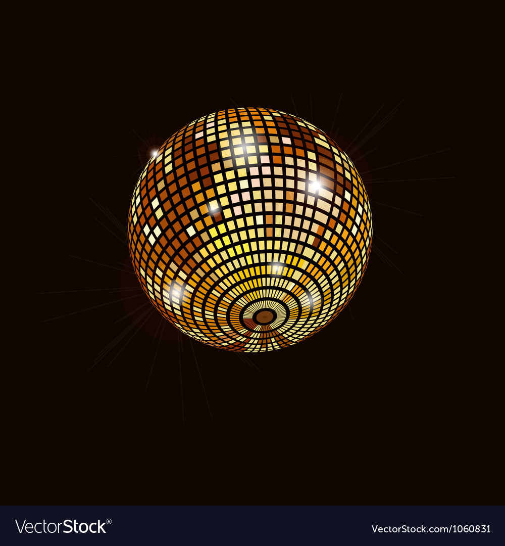 Gold mirror ball isolated vector image